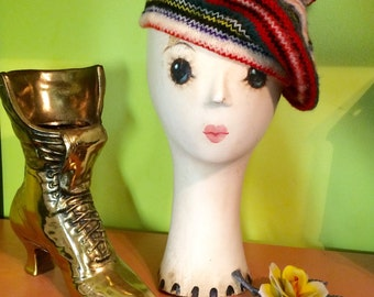 Vintage wool Tam hat in  primary colors.  Made in Scotland