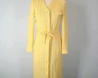 Vintage 60s Buttercup Knit Dress, Lightweight Sweater Dress, 1960s Dress, 60s Dresses, Vintage Dresses, Yellow Dress, Size Small