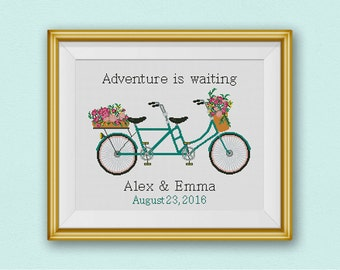 BOGO FREE! Tandem Bicycle Cross Stitch Pattern, Custom Wedding Gift Bicycle for Two Counted xStitch Chart Wedding Decor, PDF Download #026-5