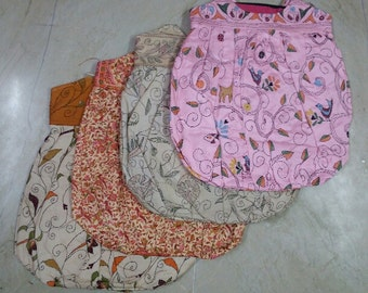 antique lot of 4 traditional bengal kantha silk brocade printed mix hand quilt embroidery shoulder bags