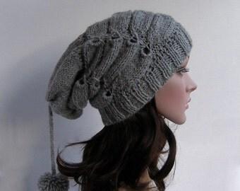 Womens Beanie Hat, Womens knit hat, Grey beanie, Gray Slouchy Beanie, Beanie Gray, Womens Knit Hat, Beret, Oversized Hat, Beanie