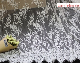 Popular Skirt Dress Lace Fabric with Eyelash edges Bridal Dress Lace Fabric 1.5 meters per pc