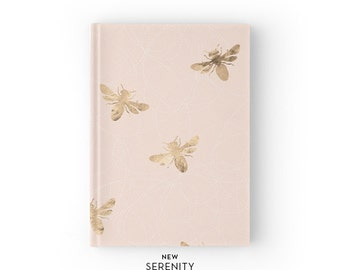 Hardcover Journal / Hardcover Notebook - Honey Bee, Bee Pattern, Pink, Gift for Her, NewSerenityStudio