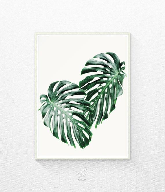 Tropical Leaves Wall Decor : Green wall decor tropical leaf print art by