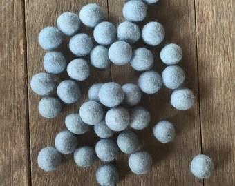 2cm Wool Felt Balls (20 pack) Blue Grey Australia Garland Craft
