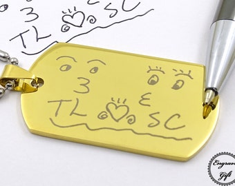 Your Handwriting Signature, Drawing Engrave Replica Memorial, couple Gift, Stainless Steel. Customized design idea gift