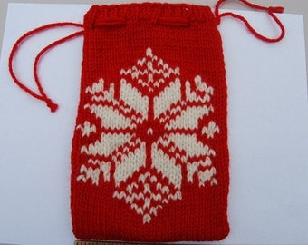SALE!  hand knitted reclaimed wool pouch