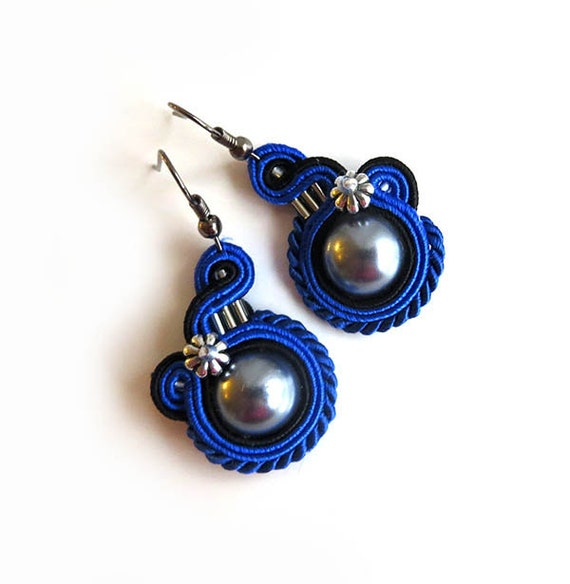 Small Blue Earrings: Cobalt Blue Grey Earrings Small Earrings Soutache Earrings