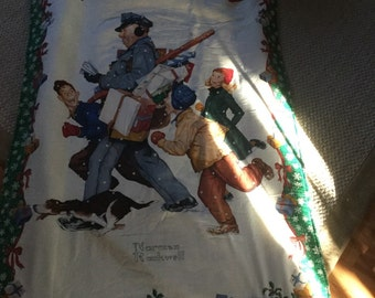 Norman Rockwell quilt wall hanging