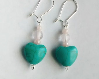 Turquoise and Pink Heart Earrings