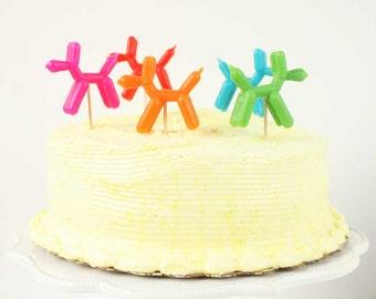 Balloon dog birthday candles. Set of 5.  Balloon dog cake candles.  Puppy dog cake toppers.  Balloon dog cupcake topper.  Puppy bday candles