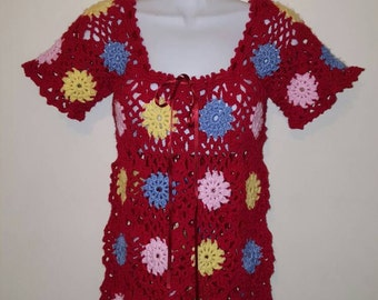 Outstanding multi coloured and patterned hand made crocheted 60s style tunic