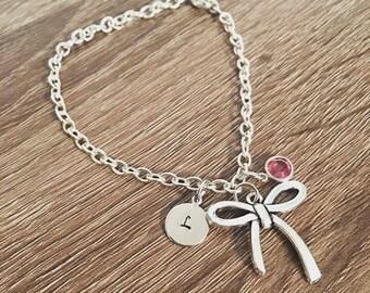 Initial charm bracelet / Bow charm / Birthstone jewelry / gift for friend / Girl gift / Personalized bracelet / monogrammed bracelet jewlery
