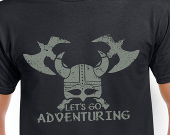 Let's Go Adventuring T-shirt  | black tshirt for tabletop gamers, video gamers and fans of role playing games (RPGs) | viking helmet and axe