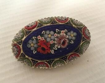 Italian Micro Beaded Handpainted Floral Broach