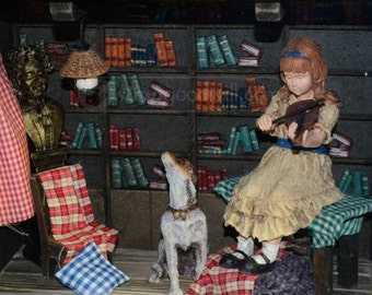Vintage Diorama with Girl and her pet dog