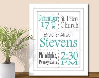 Wedding Stats Wall Art - Custom colors, Digital Printable PDF or JPEG. Anniversary Gift, Wedding Subway Art, Special dates, Important Dates