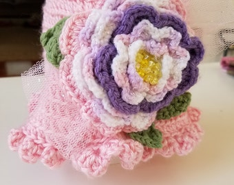 Pink, White, Purple Crochet Hat with Beaded Flower and Tulle Accent