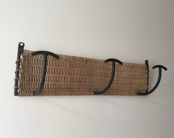Vintage Wicker/iron coat rack
