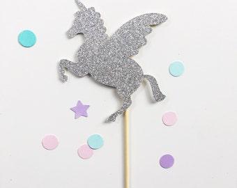 Unicorn Cake Topper Silver Glitter Birthday Cake