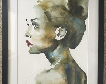 "Portrait V GICLEE PRINT of watercolour painting 11.5 "" x 16"""