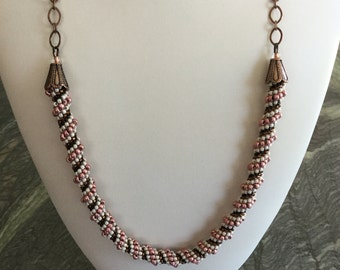 Cellini Spiral Necklace, Dark Coral, Brown, Cream seed beads