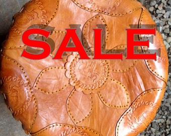 Genuine hand made REAL leather POUF/Ottoman -LARGE