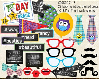 Photo Booth Props, BACK TO SCHOOL, middle school, grade 7, grade 8, printable sheets, instant download