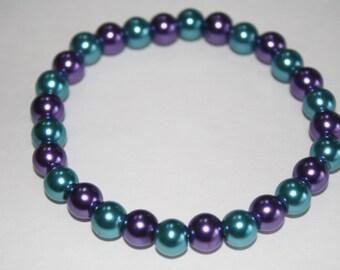 Purple and Teal Pearl Bracelet, Pearl Bracelet, Purple and Teal Bracelet
