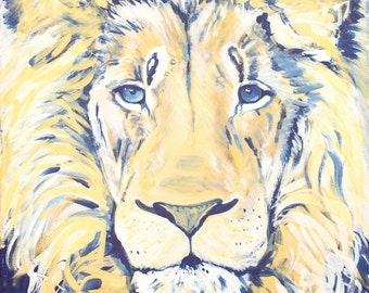 The Kind Lion Print from Original Acrylic on Canvas