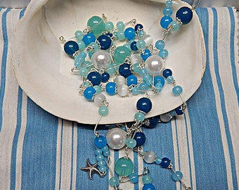 Fashion Necklace, Beaded Glass pearl,  necklace ocean blues, Faux pearl glass necklace.