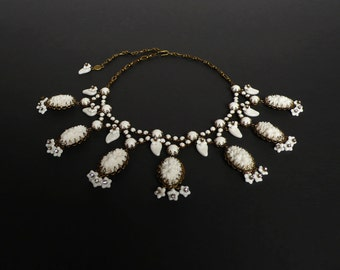 Necklace made with vintage occupied Japan (1940 – 1950) white glass flower stones by DeLuxe Accessories
