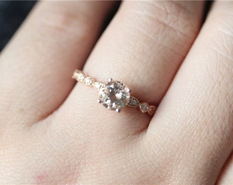 6mm Round Cut Morganite Engagement Ring Stackable 14K Rose Gold Morganit Ring/Unique Wedding Ring/Bridal Ring/Promise Ring/Anniversary Ring