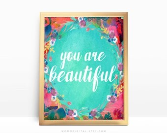 SALE -  You Are Beautiful, White Handlettering, Modern Calligraphy, Floral Flower Wreath, Sea Ocean Background, Self Worth, Art Chic
