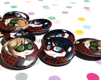 Miraculous Ladybug | Button Set of Two | LadyBug | Chat Noir | 25 mm |