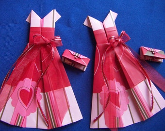 Handmade Red Pink Origami Valentine Gift Bag Dresses Valentine Hearts Dress Matching Origami Handbag Purse Red Bow 1pc