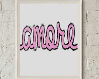 Printable Art, Amore Sign, Love Poster, 11x14 Printable, Love Quotes Wall Art, Pink Letters, Instant Digital Download, Love Quote Print,