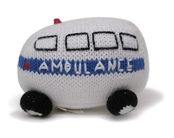 Ambulance Baby Rattle - Natural Organic Cotton Toys for Baby Boys and Girls - Newborn Baby Gift
