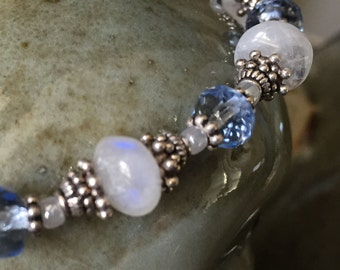 Natural moonstone, blue quartz crystal, and Bali silver bracelet
