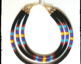 Zulu necklace, Maasai necklace, Bead necklace, Beaded necklace, white necklace, African necklace, Kenyan Necklace, South African necklace