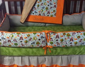 Woodland Animal Baby Bedding-Custom Baby Bedding- Boy Nursery