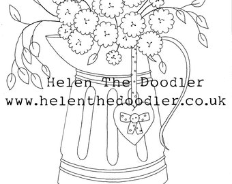 Flower Jug Shabby Chic Colouring Download / Digital Stamp