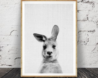 Kangaroo Print, Australian Animal Wall Art, Nursery Decor Black and White, Printable Kids Room Large Poster, Digital Download, Australiana