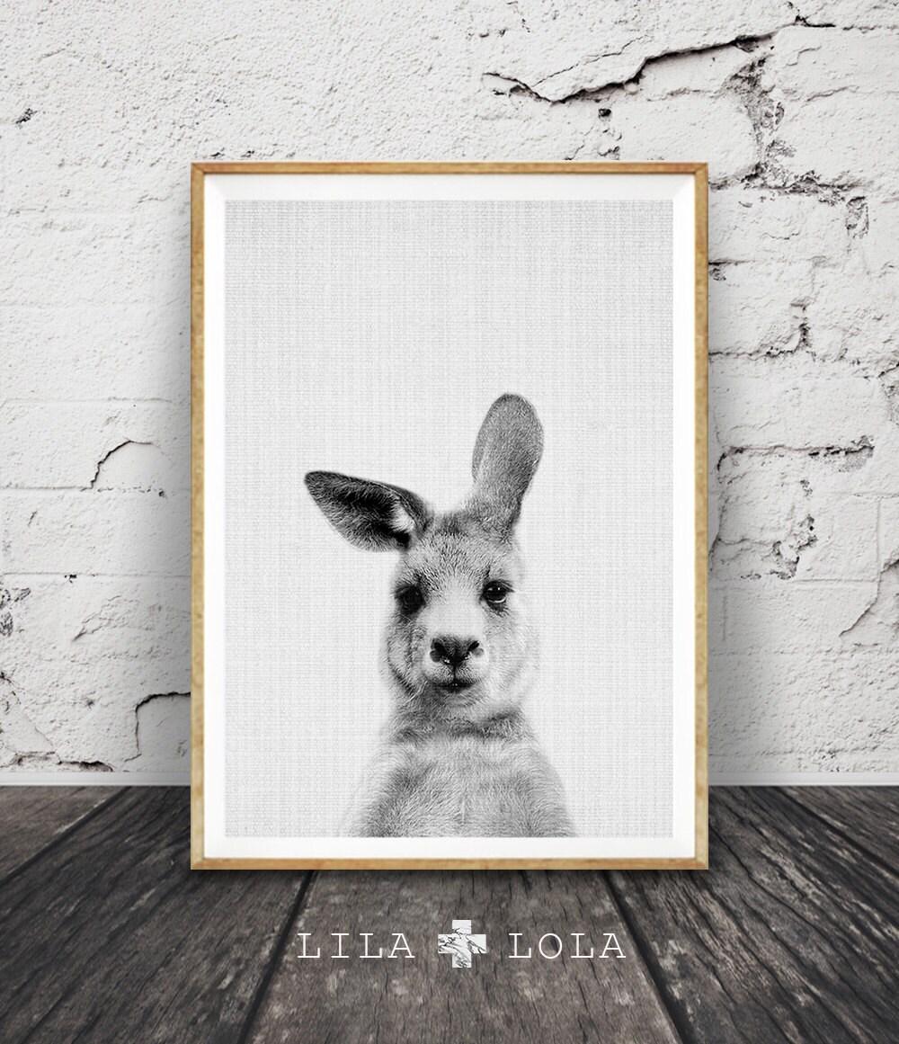 Kangaroo print australian animal wall art nursery decor for Animal wall decoration