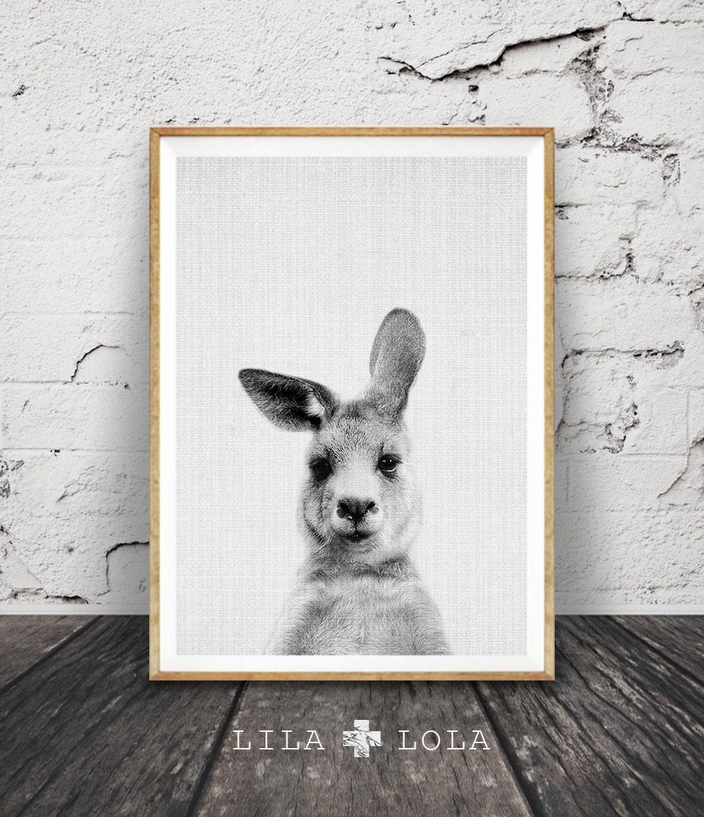 Kangaroo print australian animal wall art nursery decor for Black and white mural prints