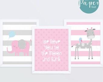 "Girl's Nursery Art Print Pink 8"" x 10"" Three Pack | Jungle Safari"