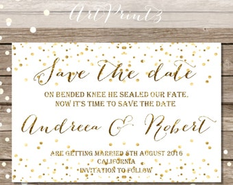 Save The Date Wedding Announcement Card Printable, Gold Confetti Save the Date Card, Gold Save the Date Card Printable, Save the Date Card