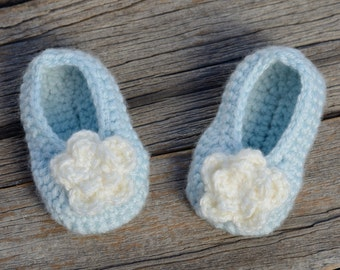 Crochet Baby Slippers, Baby Booties, Light Blue Slippers, Crocheted Baby Shoes, Baby Rosey Ballet Slippers, Gift