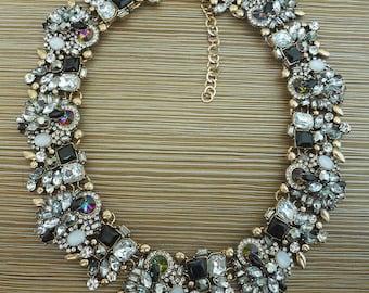 Black faux crystal statement necklace, rhinestone chunky bib collar choker 2016