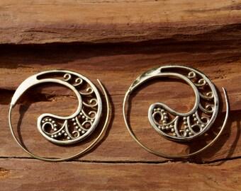 "Boho Spiral Earrings ""Dada Spiral"" Brass"
